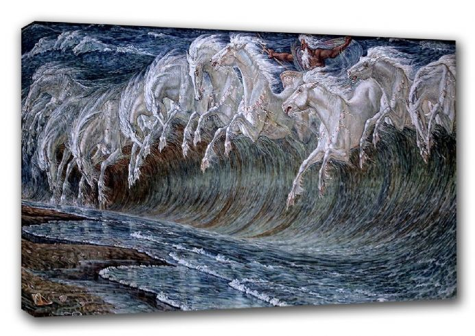 Crane, Walter: The Horses of Neptune. Mythological Fine Art Canvas. Sizes: A3/A2/A1 (00237)